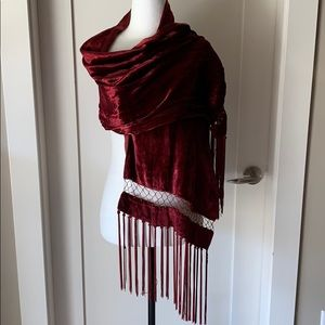 Red velvet and silk shawl, beaded + fringe detail